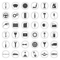 Car service icons set, car parts set