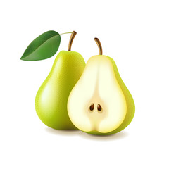 Pear and slice isolated on white vector