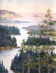 Watercolor landscape. River of spruce forest