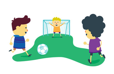 Three boy friends is enjoy with play football on soccer field