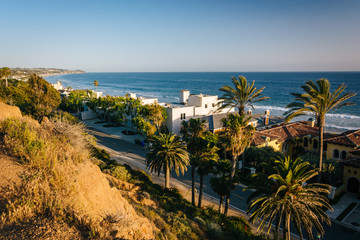 View of the houses and the Pacific Coast, in Malibu, California.