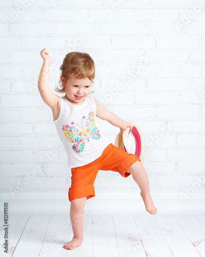 Fotobehang Dans happy beautiful baby girl dancer dancing hip hop dance