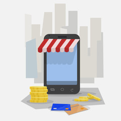 Shopping online. Smartphone