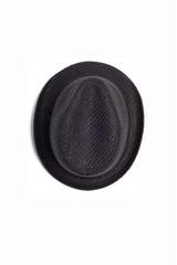 Men's Black fedora hat isolated on white background