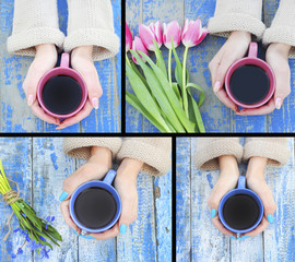 spring flowers in her hand coffee mug