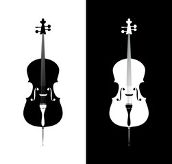 Cello in black and blue colors
