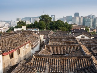 The roof of Bukcheon preserved village in Seoul, South Korea