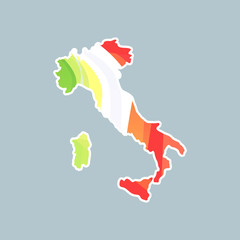 Silhouette of Italy on map