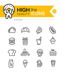 Junk Food Line Icons including: fast food, sugar, alchohol etc..
