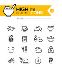 Breakfast Icons line series including: pancake, cereal, butter e