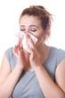Girl sneezes