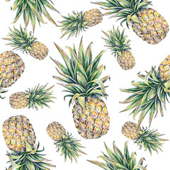 Pineapple on a white background. Seamless pattern