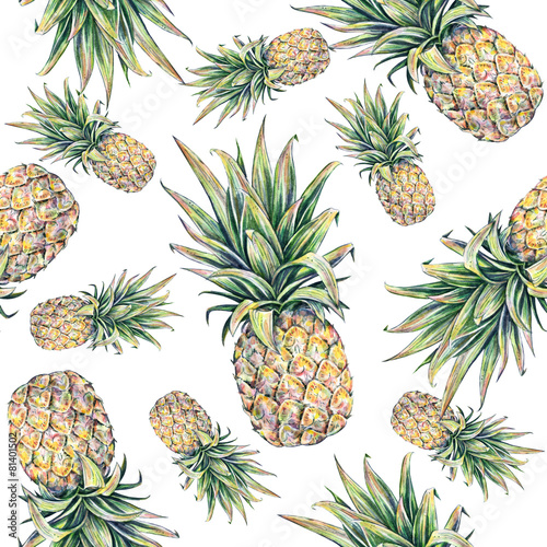 Pineapple on a white background. Seamless pattern - 81401502