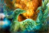 fairy emerald green phoenix bird, colorful ornamental fantasy