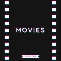 Motion picture film in 3D, vector illustration