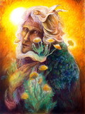 fantasy elven fairy man portrait with dandelion, colorful bright poster