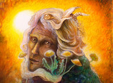 fantasy elven fairy man portrait with dandelion, colorful paint poster