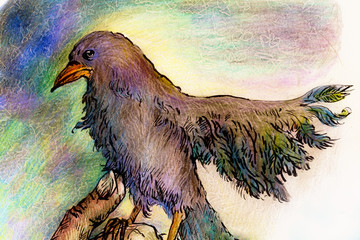 Fantasy park bird detailed colorful ornamental drawing, profile