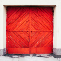 Red doors of fire stations