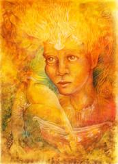 fantasy golden light fairy spirit with two phoenix birds