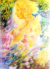 fantasy golden light fairy spirit with birds and floating leaf