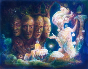Spiritual sacred tree of four faces, beautiful fantasy colorful