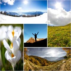 Collage quattro stagioni in natura e montagna