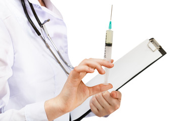 doctor holds syringe and clipboard isolated