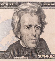 Macro portrait of President Andrew Jackson as depicted on the US