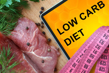 Tablet with low carb diet and fresh meat