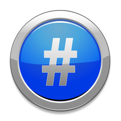 Hashtag Sign Icon / Light Blue Button