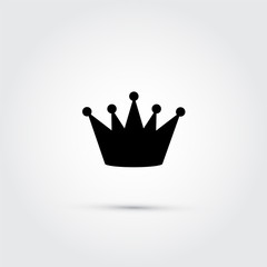 Vector crown, black silhouette on grey background