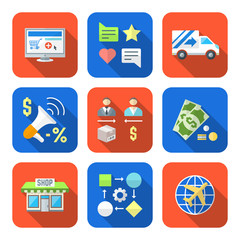 various colorful flat style business distribution marketing proc