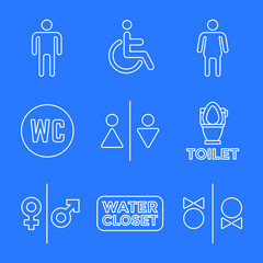various white color line water closet signs toilet restroom icon