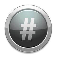 Hashtag Sign Icon / Light Gray Button