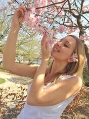 Mädchen bei Kirschblüte im Park