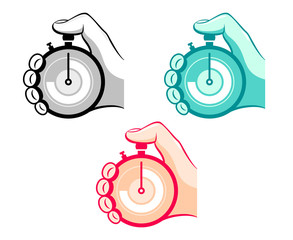 Stopwatch in hand icons