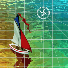 yacht sails on the sea, the top view on the map