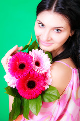 Spring portrait of a beautiful young brunette