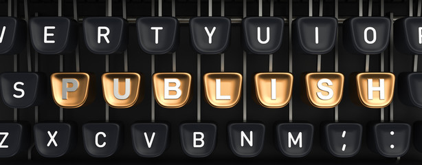 Typewriter with PUBLISH buttons