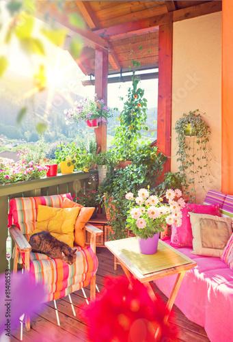 Fotobehang Schöner Balkon mit Blumen - nice balkony 06