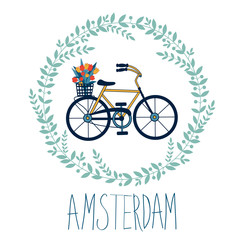 Cute Amsterdam card with tulips in bycicle basket in floral