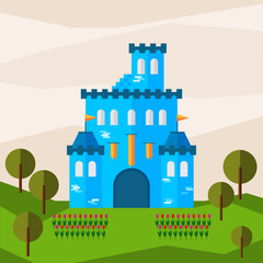 Bright graphic illustration with cartoon blue colored castle