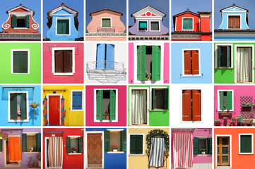 abstract colorful house made of many images