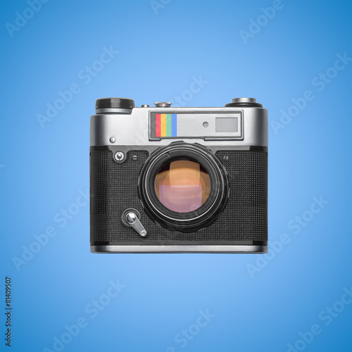 Square photo camera on blue background - 81409507
