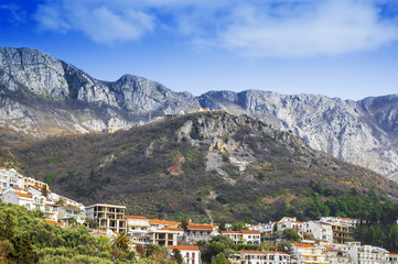 View of mountain village in Montenegro