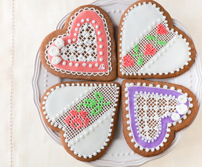 Home-baked and decorated heart shaped cookies.
