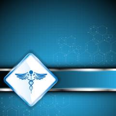 medical logo and metallic bar background