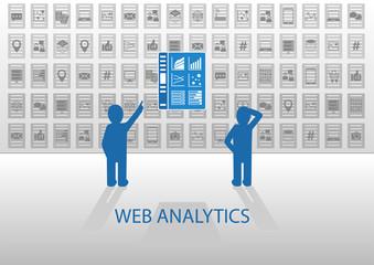 Web analytics vector illustration with dashboard