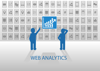 Web analytics vector illustration with two data analysts
